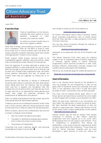 Citizen Advocacy Trust Newsletter – June 2021